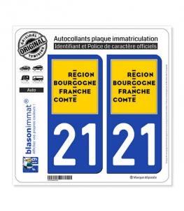 21 Bourgogne-Franche-Comté - LogoType | Autocollant plaque immatriculation