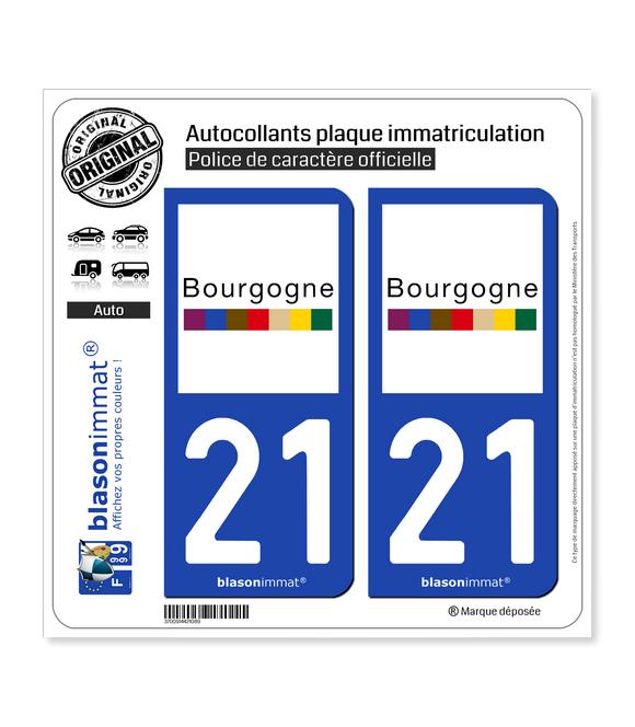21 Bourgogne - Tourisme | Autocollant plaque immatriculation