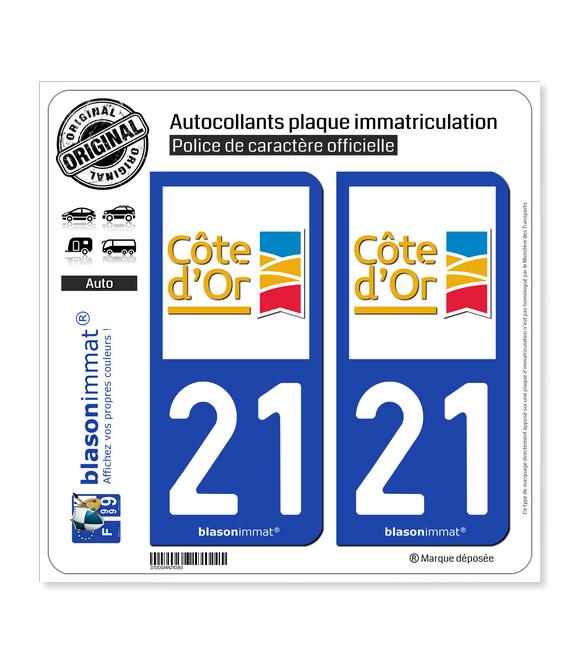 21 Côte-d'Or - Département | Autocollant plaque immatriculation