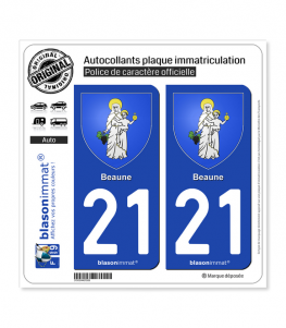21 Beaune - Armoiries | Autocollant plaque immatriculation