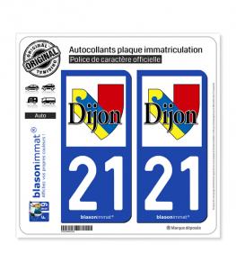 21 Dijon - Ville | Autocollant plaque immatriculation
