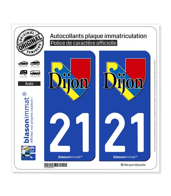 21 Dijon - Ville II | Autocollant plaque immatriculation