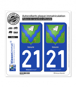 21 Izeure - Armoiries | Autocollant plaque immatriculation