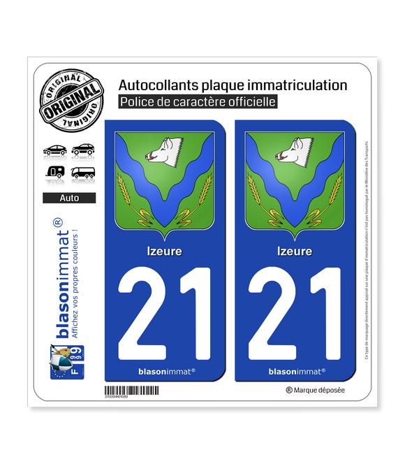 21 Izeure - Armoiries | Autocollant plaque immatriculation