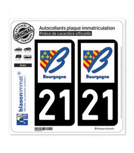 21 Bourgogne - LogoType | Autocollant plaque immatriculation