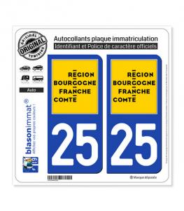 25 Bourgogne-Franche-Comté - LogoType | Autocollant plaque immatriculation