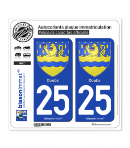 25 Doubs - Armoiries | Autocollant plaque immatriculation