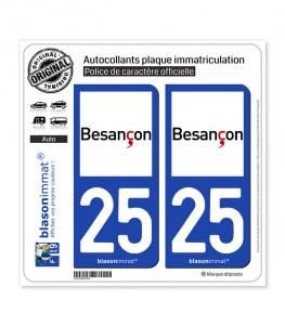25 Besançon - Ville | Autocollant plaque immatriculation