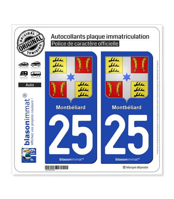 25 Montbéliard - Armoiries | Autocollant plaque immatriculation