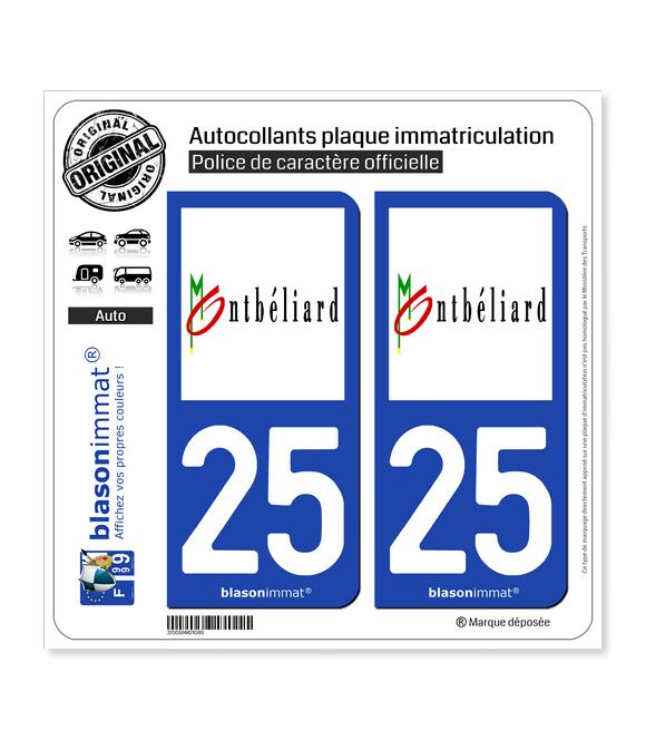 25 Montbéliard - Ville | Autocollant plaque immatriculation
