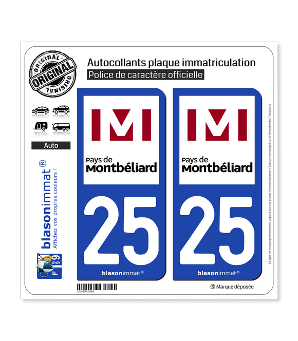 25 Montbéliard - Agglo | Autocollant plaque immatriculation