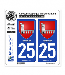 25 Pontarlier - Armoiries | Autocollant plaque immatriculation