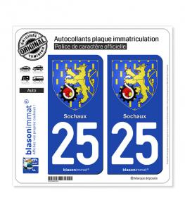 25 Sochaux - Armoiries | Autocollant plaque immatriculation