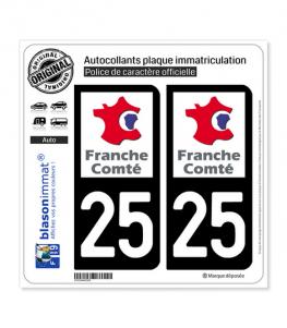 25 Franche-Comté - LogoType | Autocollant plaque immatriculation