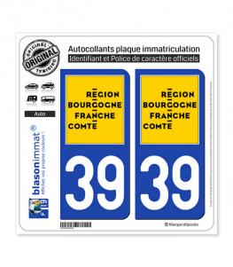 39 Bourgogne-Franche-Comté - LogoType | Autocollant plaque immatriculation