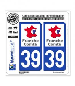 39 Franche-Comté - LogoType | Autocollant plaque immatriculation