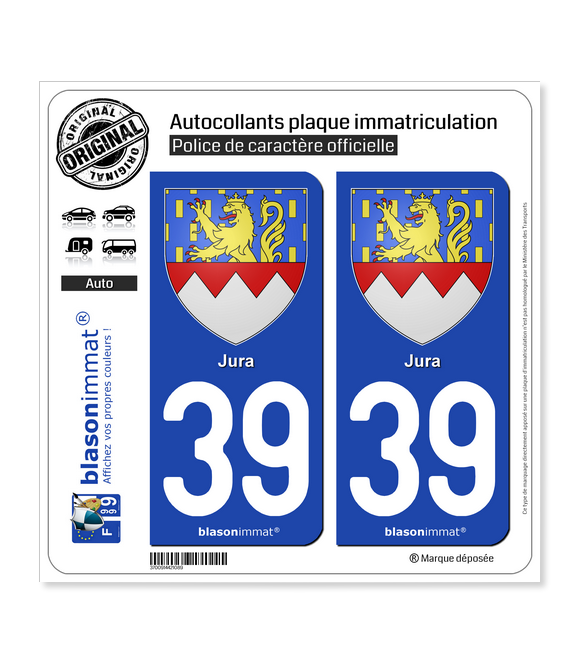 39 Jura - Armoiries | Autocollant plaque immatriculation