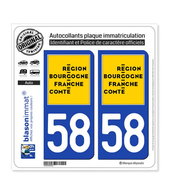 58 Bourgogne-Franche-Comté - LogoType   Autocollant plaque immatriculation