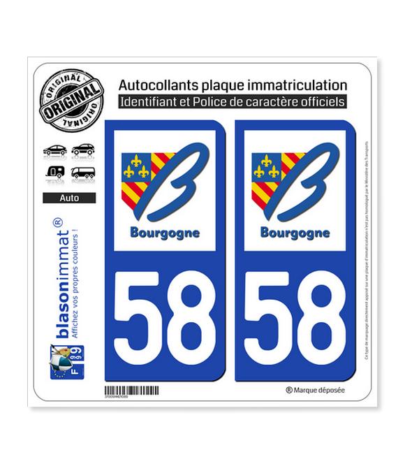 58 Bourgogne - LogoType | Autocollant plaque immatriculation