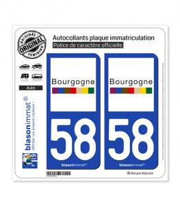 58 Bourgogne - Tourisme | Autocollant plaque immatriculation