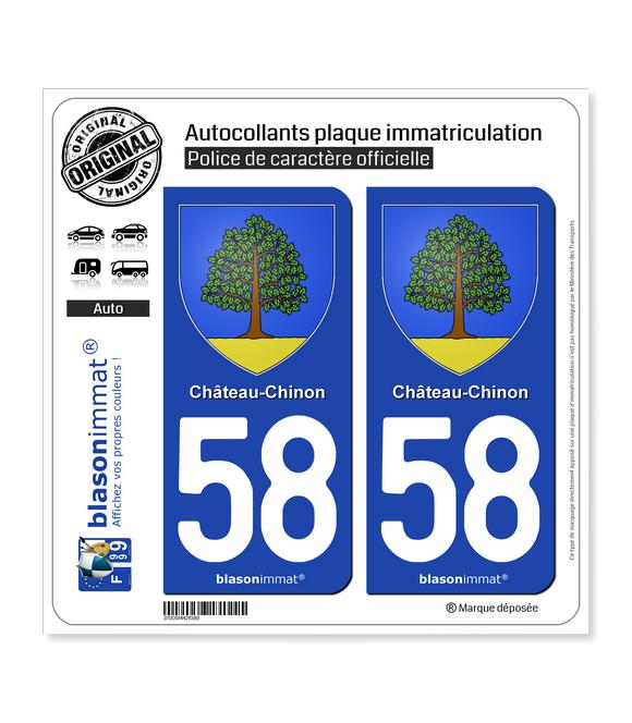 58 Château-Chinon - Armoiries | Autocollant plaque immatriculation