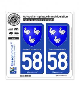 58 Cosne-Cours-sur-Loire - Armoiries | Autocollant plaque immatriculation