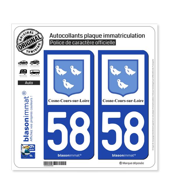 58 Cosne-Cours-sur-Loire - Ville | Autocollant plaque immatriculation