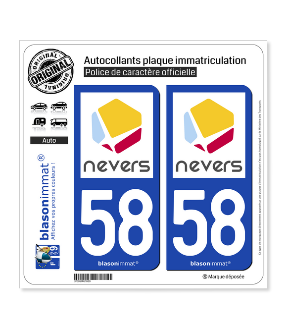 58 Nevers - Agglo | Autocollant plaque immatriculation