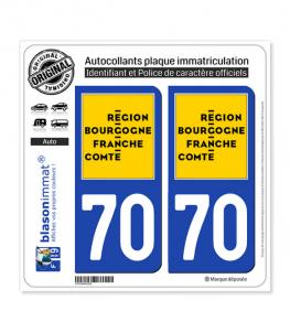 70 Bourgogne-Franche-Comté - LogoType | Autocollant plaque immatriculation