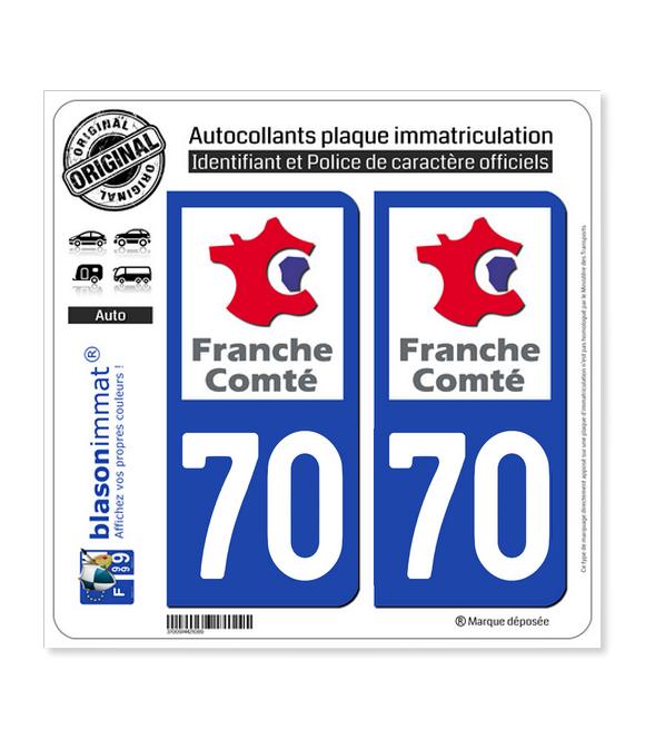 70 Franche-Comté - LogoType | Autocollant plaque immatriculation