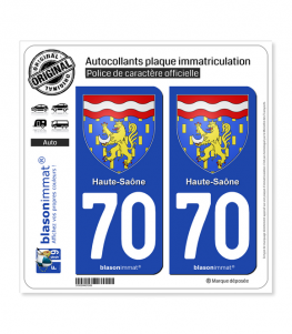 70 Haute-Saône - Armoiries | Autocollant plaque immatriculation