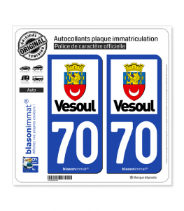 70 Vesoul - Ville | Autocollant plaque immatriculation