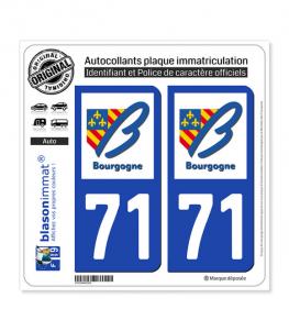 71 Bourgogne - LogoType | Autocollant plaque immatriculation