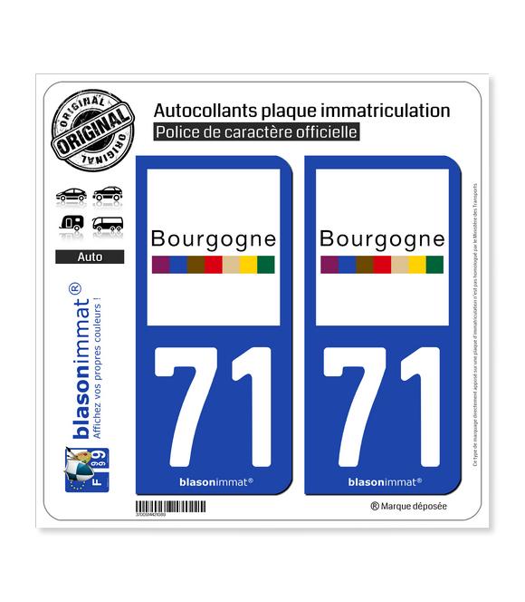 71 Bourgogne - Tourisme | Autocollant plaque immatriculation