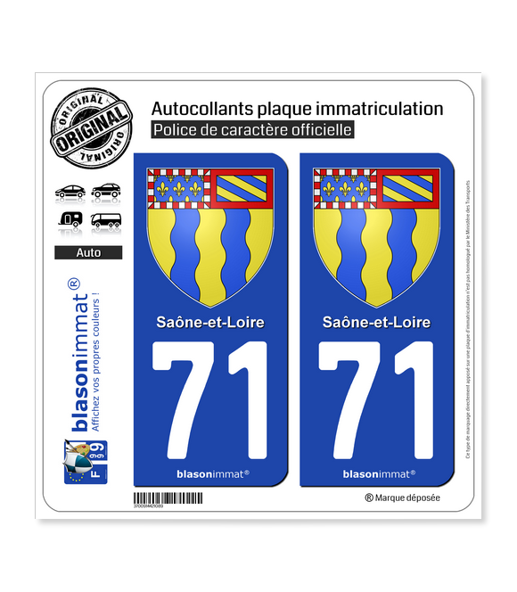 71 Saône-et-Loire - Armoiries | Autocollant plaque immatriculation