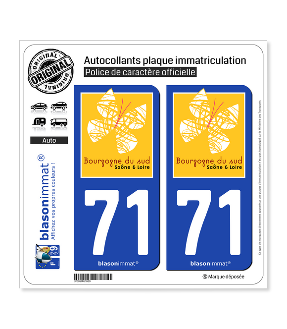 71 Saône-et-Loire - Bourgogne du Sud | Autocollant plaque immatriculation