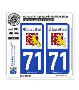 71 Charolles - Ville | Autocollant plaque immatriculation