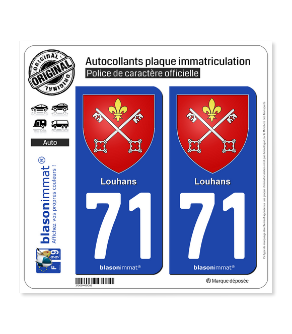 71 Louhans - Armoiries | Autocollant plaque immatriculation