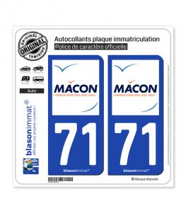 71 Mâcon - Ville | Autocollant plaque immatriculation