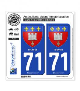 71 Tournus - Armoiries | Autocollant plaque immatriculation