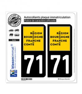 71 Bourgogne-Franche-Comté - LogoType | Autocollant plaque immatriculation