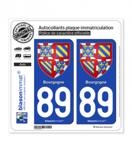 89 Bourgogne - Armoiries | Autocollant plaque immatriculation