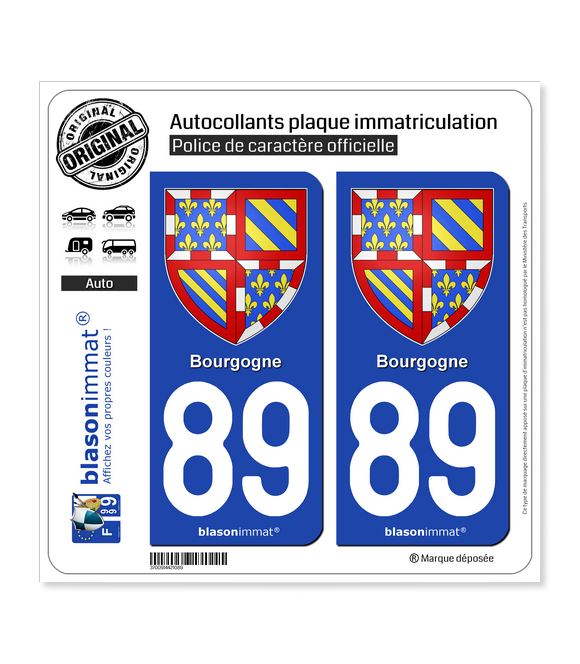 89 Bourgogne - Armoiries | Autocollant plaque immatriculation