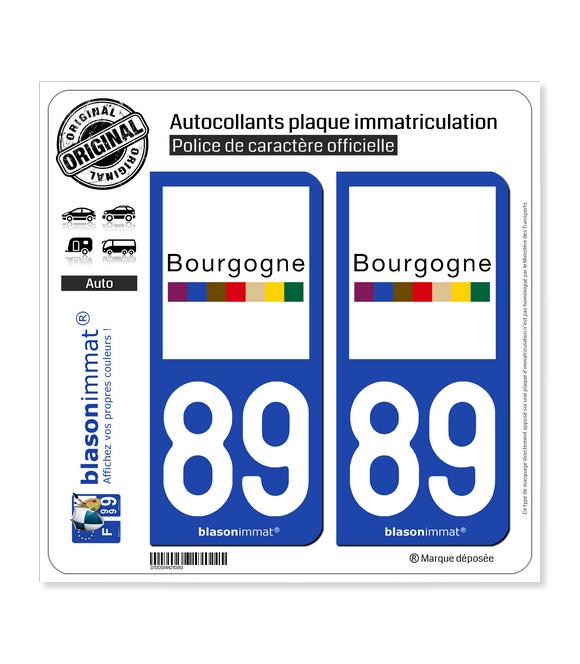 89 Bourgogne - Tourisme | Autocollant plaque immatriculation