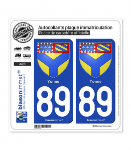 89 Yonne - Armoiries | Autocollant plaque immatriculation