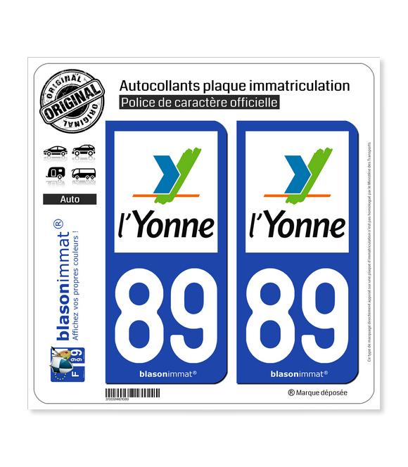 89 Yonne - Département | Autocollant plaque immatriculation