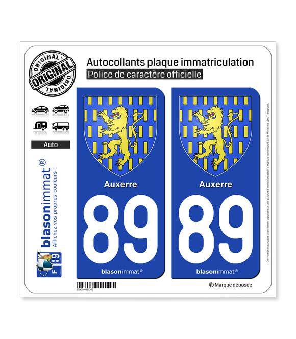 89 Auxerre - Armoiries | Autocollant plaque immatriculation