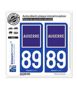 89 Auxerre - Ville | Autocollant plaque immatriculation