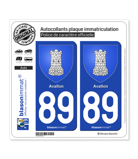 89 Avallon - Armoiries | Autocollant plaque immatriculation