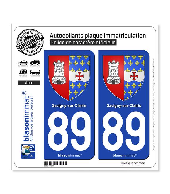 89 Savigny-sur-Clairis - Armoiries | Autocollant plaque immatriculation